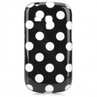 Polka Dot Style Protective TPU Back Case for Samsung Galaxy S3 Mini i8190 - Black + White