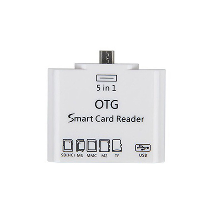 5-в-1 Micro USB OTG адаптер / SD / SDHC / MMC / RS MMC / TF Card Reader - белый