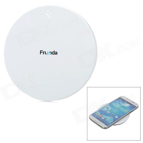 Frunda FCT002 5V 1A Qi Wireless Charger for IPHONE4 / 4S / 5S / Samsung i9500 / N9000 - White universal qi wireless charger for cellphone white eu plug