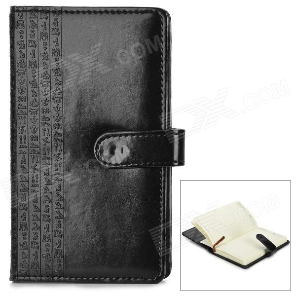 WH-7740 PU Leather Sleeve Paper Notebook - Black + White (127-Sheet / Size M) leuchtturm genuine black leather notebook master a4 plain blank