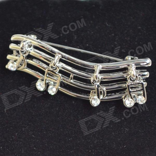 DEDO Music Gifts MG-39 Romantic Elegance Rhinestone Brooch Music Score Brooch - Silver White