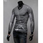 Men's Fashion Slim Round Neck Long Sleeve T-shirt - Gray (L)