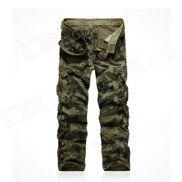 1309B022 Water Waves Washed Camouflage Pants - Army Green (Size 34)