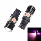 Merdia T10 1.5W 250lm 4-5050 SMD LED + 1 Condenser Lens Pink Car Tail Lights - Black (12V / 2PCS)