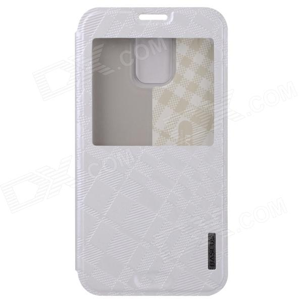 все цены на BASEUS Silk Hand Feeling PU Leather Case Cover w/ Visual Window for Samsung Galaxy S5 - White онлайн