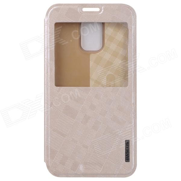BASEUS Silk Hand Feeling PU Leather Case Cover w/ Visual Window for Samsung Galaxy S5 - Golden protective pu leather plastic case cover w visual window for samsung galaxy s5 white