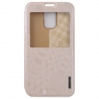 BASEUS Silk Hand Feeling PU Leather Case Cover w/ Visual Window for Samsung Galaxy S5 - Golden