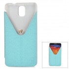 Stylish Protective PU Leather Case w/ Stand for Samsung Note 3 / N9000 - Light Blue + Transparent