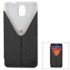 Stylish Protective PU Leather Case w/ Stand for Samsung Note 3 / N9000 - Black + Transparent