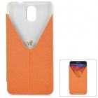 Stylish Protective PU Leather Case w/ Stand for Samsung Note 3 / N9000 - Orange + Transparent