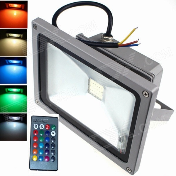 ZHISHUNJIA 20W 1800lm LED 7-Color Project Light w/ Remote Controller - Silver Black (85~265V)