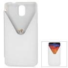 Stylish Protective PU Leather Case w/ Stand for Samsung Note 3 / N9000 - White + Translucent