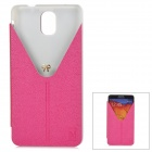 Stylish Protective PU Leather Case w/ Stand for Samsung Note 3 / N9000 - Deep Pink