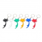H2SF Coconut Tree Style Aluminum Alloy Bottle Opener Keychain - Multi-Color (6 PCS)