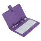 "Universal Micro USB Wired 80-Key Keyboard PU Leather Case Stand for 7"" Tablet PC - Purple"