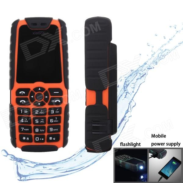 xiaocai-x6-waterproof-gsm-bar-phone-w-177-screen-flashlight-mobile-charger-orange