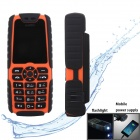 "XiaoCai X6 Waterproof GSM Bar Phone w/ 1.77"" Screen, Flashlight, Mobile Charger - Orange"