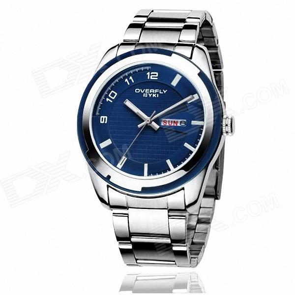 EYKI 8536 Fashionable Men's Business Casual Quartz Wrist Watches - Sapphire Blue + Silver (1 x 10#)