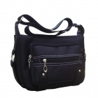 Casual Square Shape Oxford Cloth Zippered Shoulder Bag - Black