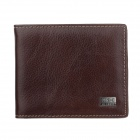 C.S.C K124OSO Stylish Men's Leather Wallet - Dark Brown