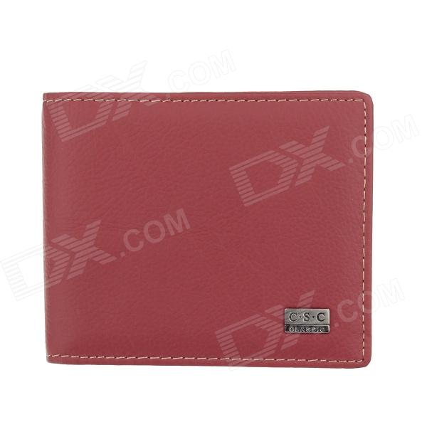 C.S.C LF24OSO Stylish Men's Leather Wallet - Red vintage women short leather wallets stylish wallet coin card pocket holder wallet female purses money clip ladies purse 7n01 18