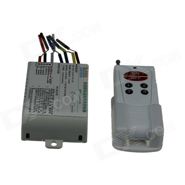 ZSDD52-4S-220V 4 Channel Digital Wireless Remote Control Switch w/ 6 Key Remote Control (AC 220V)