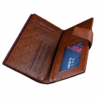Menn Lang PU Leather Casual Wallet - Brown