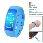 3D Fashionable Calorie Pedometer USB Flash Disk Multifunctional Sport Smart Watch - Blue