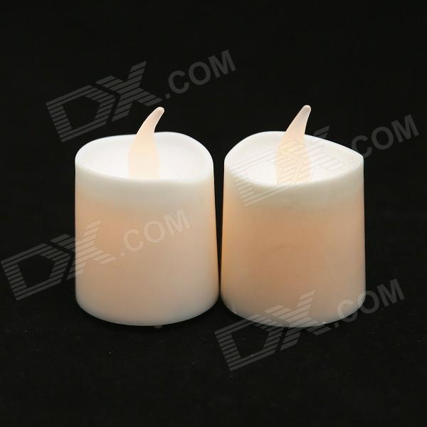 PZCD MY-06 Yellow Light Flame Twinkle Effect LED Candle Lamp - White (2 PCS / 2 x CR2032)