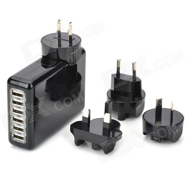 купить Universal 6-port USB AC Power Charger Adapter + US/EU/UK/AU Plug for IPAD / Samsung (100~240V) недорого