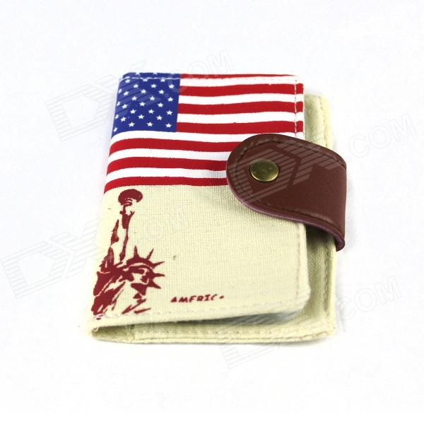 Stilig US Flag / Statue of Liberty Pattern 20-pocket Canvas kortet Bag - Blå + Rød