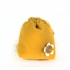 Woman's Cute Flower-decorated Coin Purse Bag - Yellowish Orange + Bronze