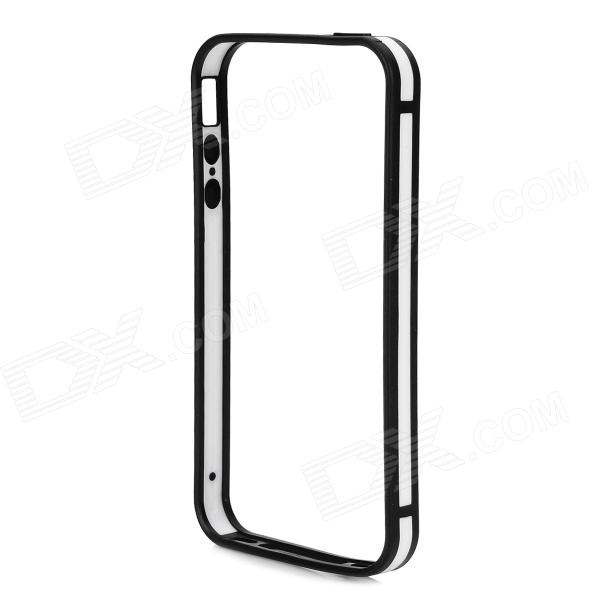 Stylish Thin 0.7mm Thick TPU + PC Bumper Frame Case for IPHONE 4S / 4 - White + Black