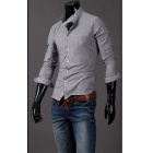 Unique Collar Men's Fashion Long-sleeved Strip Pattern Shirt-  Gray (XL)