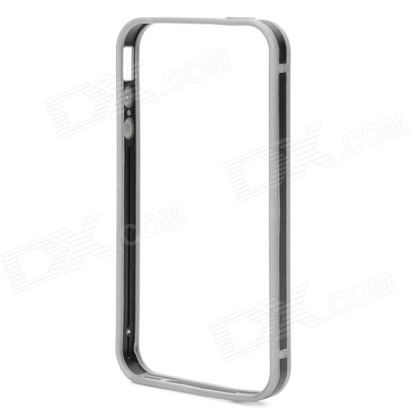 Stylish Thin 0.7mm Thick TPU + PC Bumper Frame Case for IPHONE 4S / 4 - Black + Grey