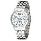 HMD 6066 Men's Fashion Steel Band Fake 3-Eyes Wrist Watch - Silver