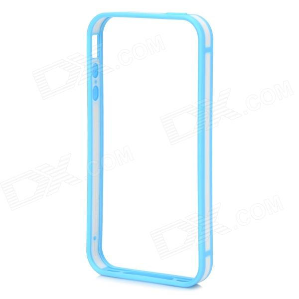Stylish Thin 0.7mm Thick TPU + PC Bumper Frame Case for IPHONE 4S / 4 - White + Light Blue wholesale original dlp projector color wheel for optoma ep728i color wheel