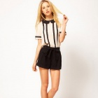 Black + Beige Fashionable Pricess Collar Short-sleeve Chiffon Shirt - Black + Beige (L)