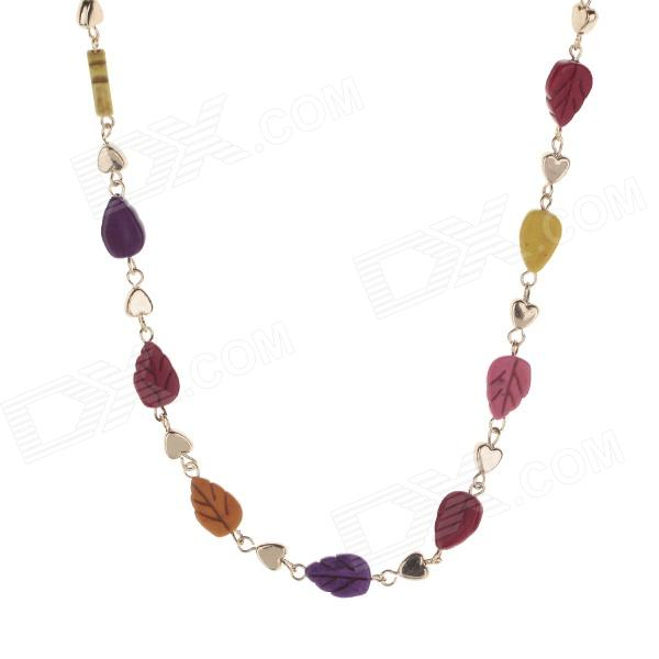 HH002 Fashion Leaf Style Tophus Zinc Alloy Chain Necklace - Multicolored