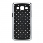 Rhombus Style Rhinestone Protective ABS Back Case for Samsung G3812 - Black + Silver