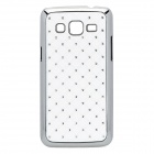 Rhombus Style Rhinestone Protective ABS Back Case for Samsung G3812 - White + Silver