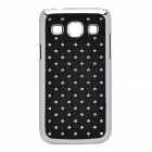 Rhombus Style Rhinestone Protective Plastic Back Case for Samsung G3502 - Black + Silver