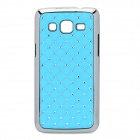 Rhombus Style Rhinestone Protective ABS Back Case for Samsung G3812 - Light Blue + Silver