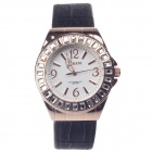 AODASI 4278L Stylish Rhinestone Inlaid Analog Quartz Wristwatch - Black + Rose Golden (1 x LR626)