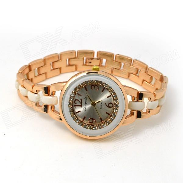 Fashion Round Crystal Dial Quartz Wrist Watch for Women - Golden + White (1 x LR626) womage chic pencil shaped hour hands style quartz wrist watch with white dial for women hot pink