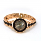 Buy Fashion Round Crystal Dial Quartz Wrist Watch Women - Golden + Black (1 x LR626)