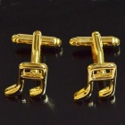 DEDO MG-121 Music Note Style Shirt Cufflinks - Golden (2 PCS)