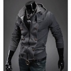 Men's Unique Double-Breasted Casual Hooded Coat - Dark Grey (Size L)