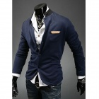 Men's Slim Knit Collar Leisure Suit - Dark Blue (Size XL)