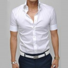 REVERIE UOMO 942 Men's Casual Blending Short Sleeve Shirt - White (Size L)